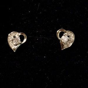 Jewelry - 925 Silver Heart Sapphire Earrings Nickel Free